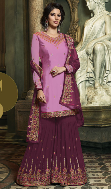 Pink Color Embroidered Satin Palazzo Suit