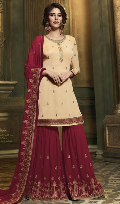 Cream Color Embroidered Satin Palazzo Dress