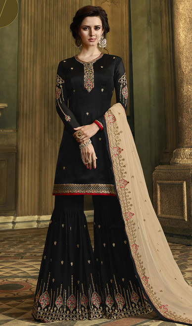 Palazzo Black Color Satin Embroidered  Suit