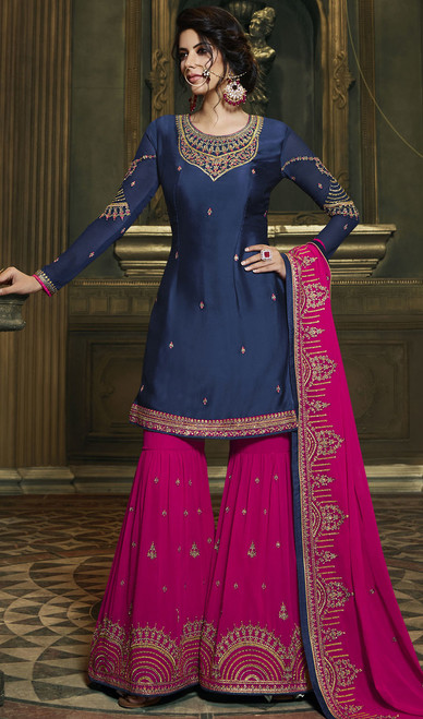 Blue Color Embroidered Satin Palazzo Suit