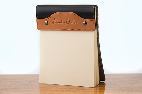 Large Notepad Tan Bridle with Black Bridle