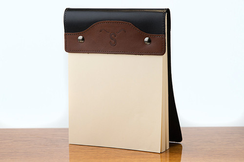 Large Notepad Tan Calf with Black Calf