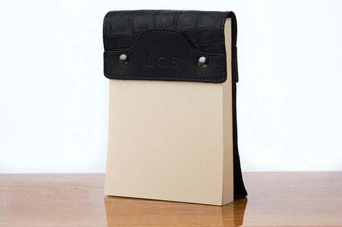 Small Notepad Black Bridle with Black Gator