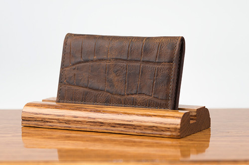 Personal Card Holder Cognac Gator