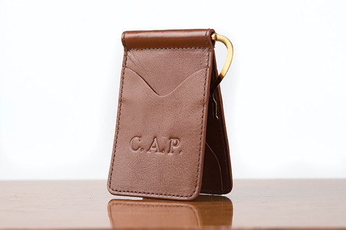 Spring Clip Wallet Tan Calf