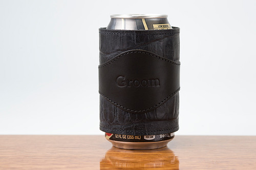 Beverage Wrap Black Bridle with Black Gator