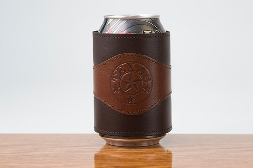 Beverage Wrap Tan Calf with Brown Calf