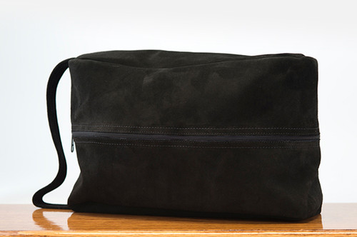 Golf Shoe Bag Black Cow Suede