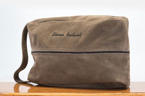 Golf Shoe Bag Grey Cow Suede