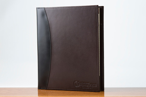 Sr. Padfolio Black Calf with Brown Calf