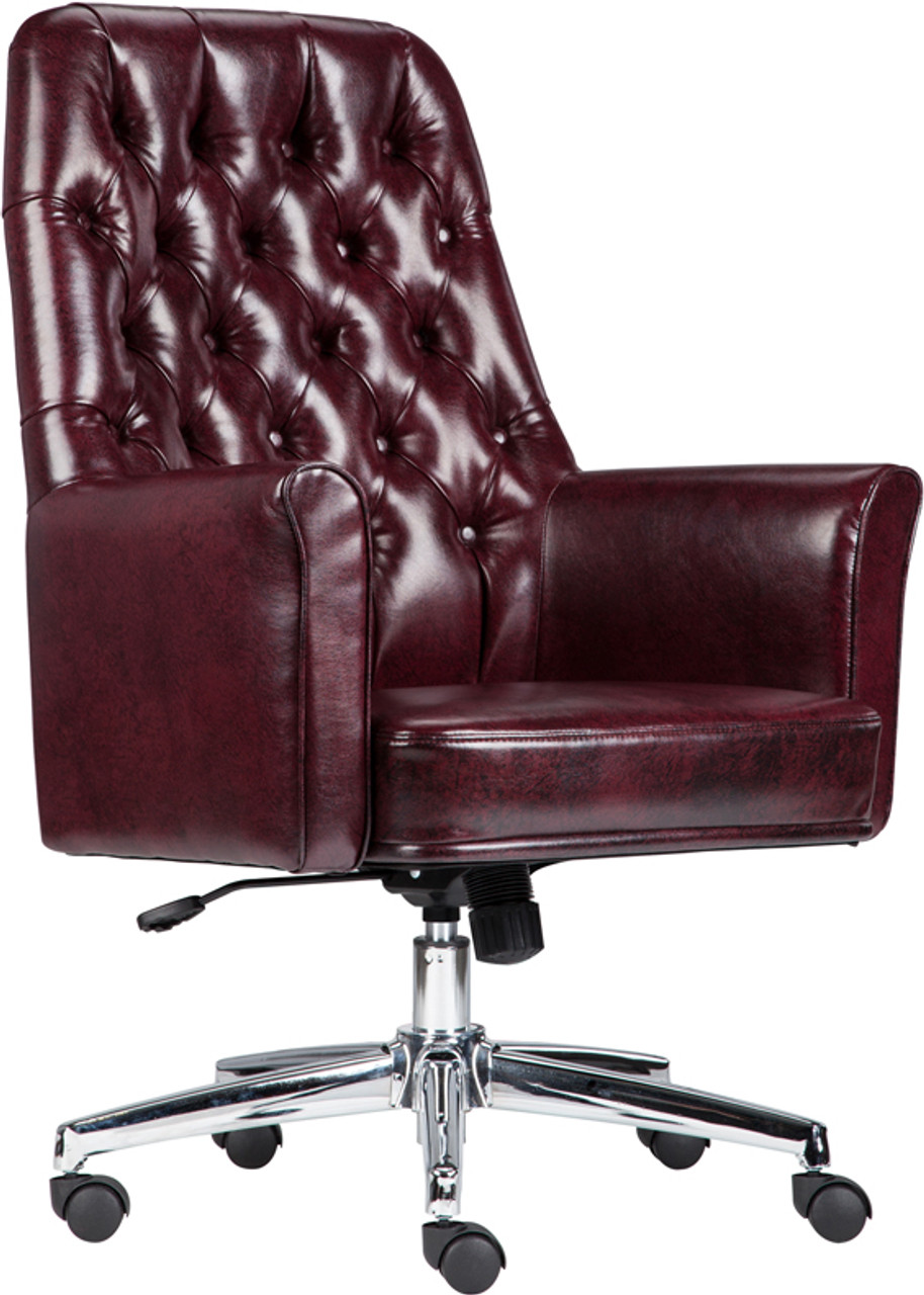 Amazing Mid Back Traditional Tufted Burgundy Leather Executive Swivel Office Chair With Arms Ocoug Best Dining Table And Chair Ideas Images Ocougorg
