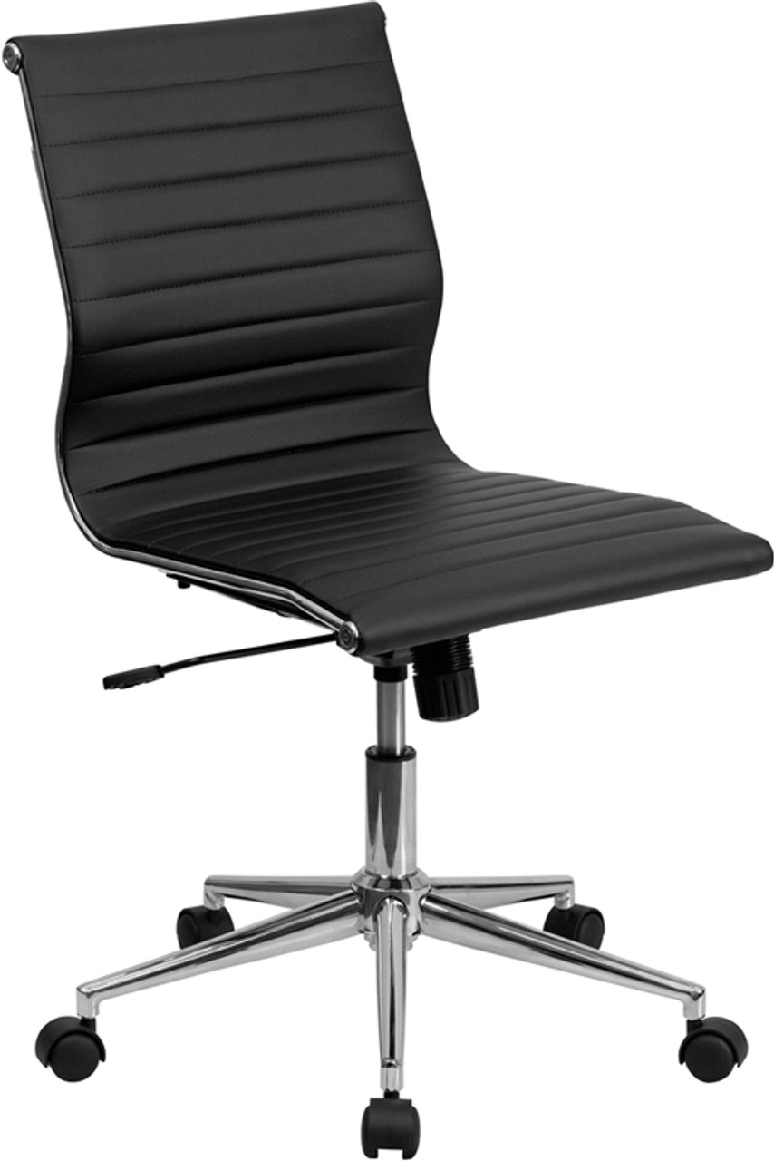 Mid Back Armless Black Ribbed Leather Swivel Conference Office Chair