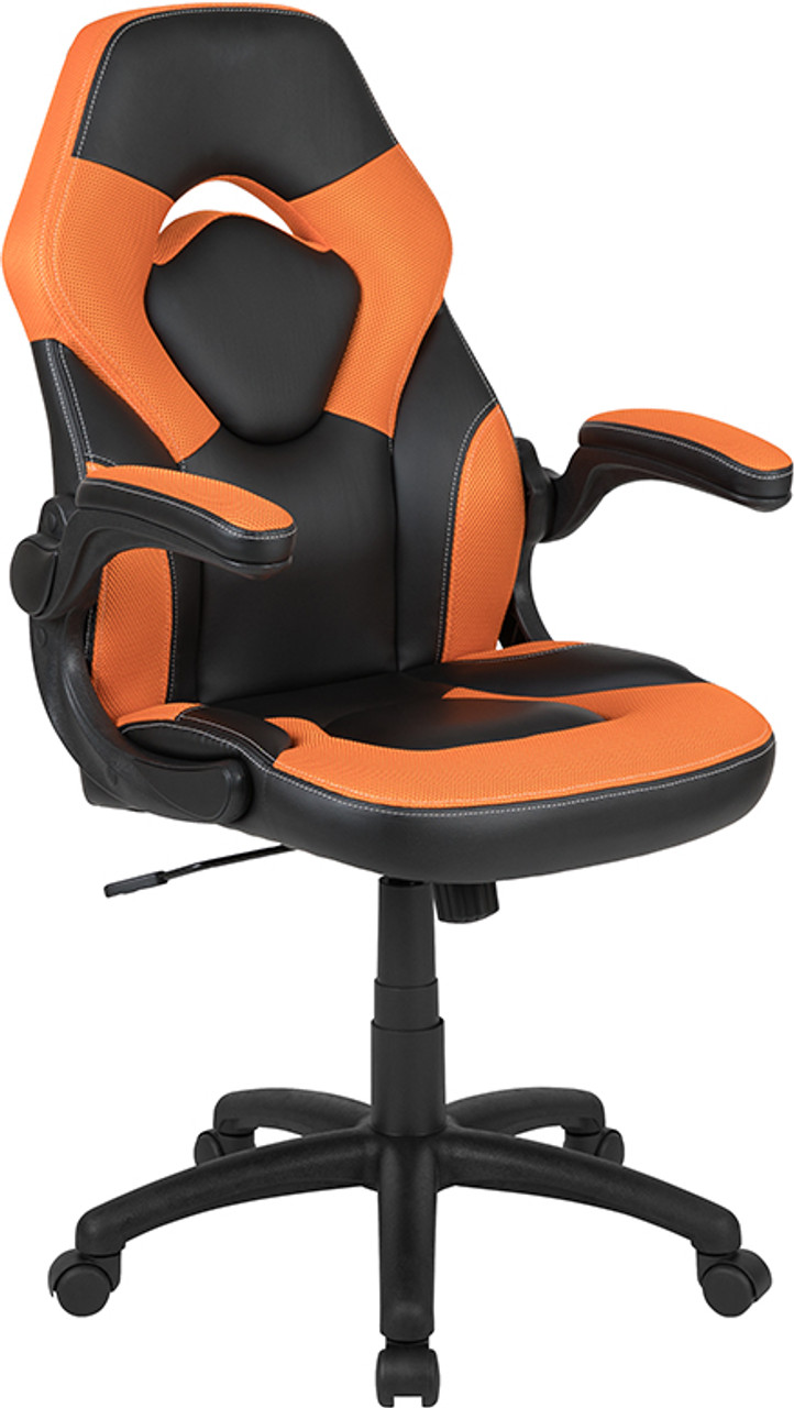 Picture of: High Back Racing Style Ergonomic Gaming Chair With Flip Up Arms Orange Black Leathersoft