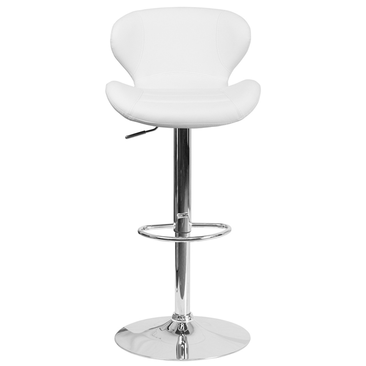 Contemporary White Vinyl Adjustable Height Rounded Barstool with Chrome Base