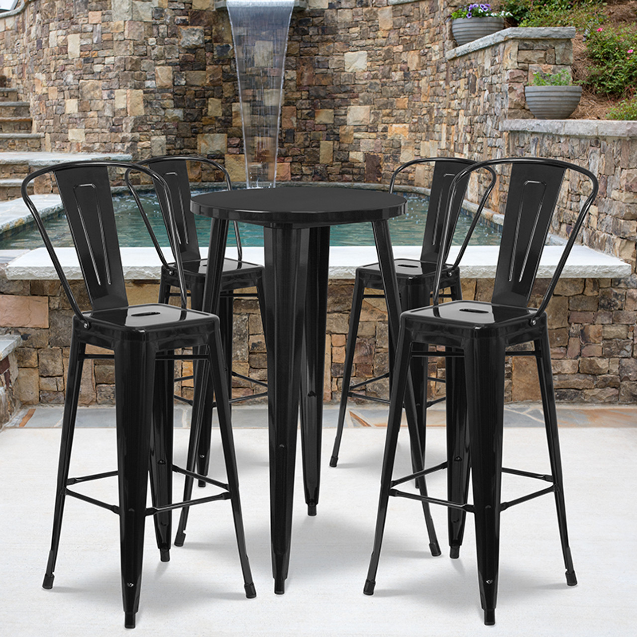 Fabulous 24 Round Black Metal Indoor Outdoor Bar Table Set With 4 Cafe Stools Forskolin Free Trial Chair Design Images Forskolin Free Trialorg