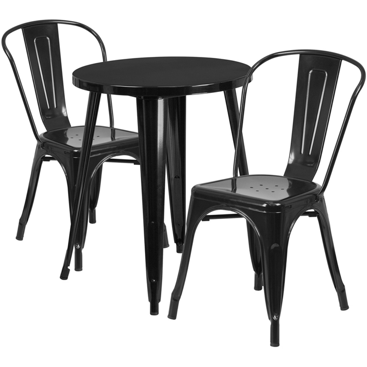 24 Round Black Metal Indoor Outdoor Table Set With 2 Cafe Chairs