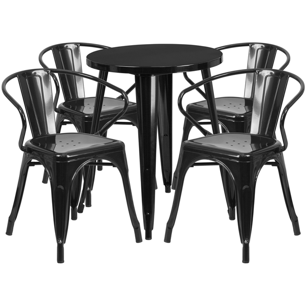 24 Round Black Metal Indoor Outdoor Table Set With 4 Arm Chairs