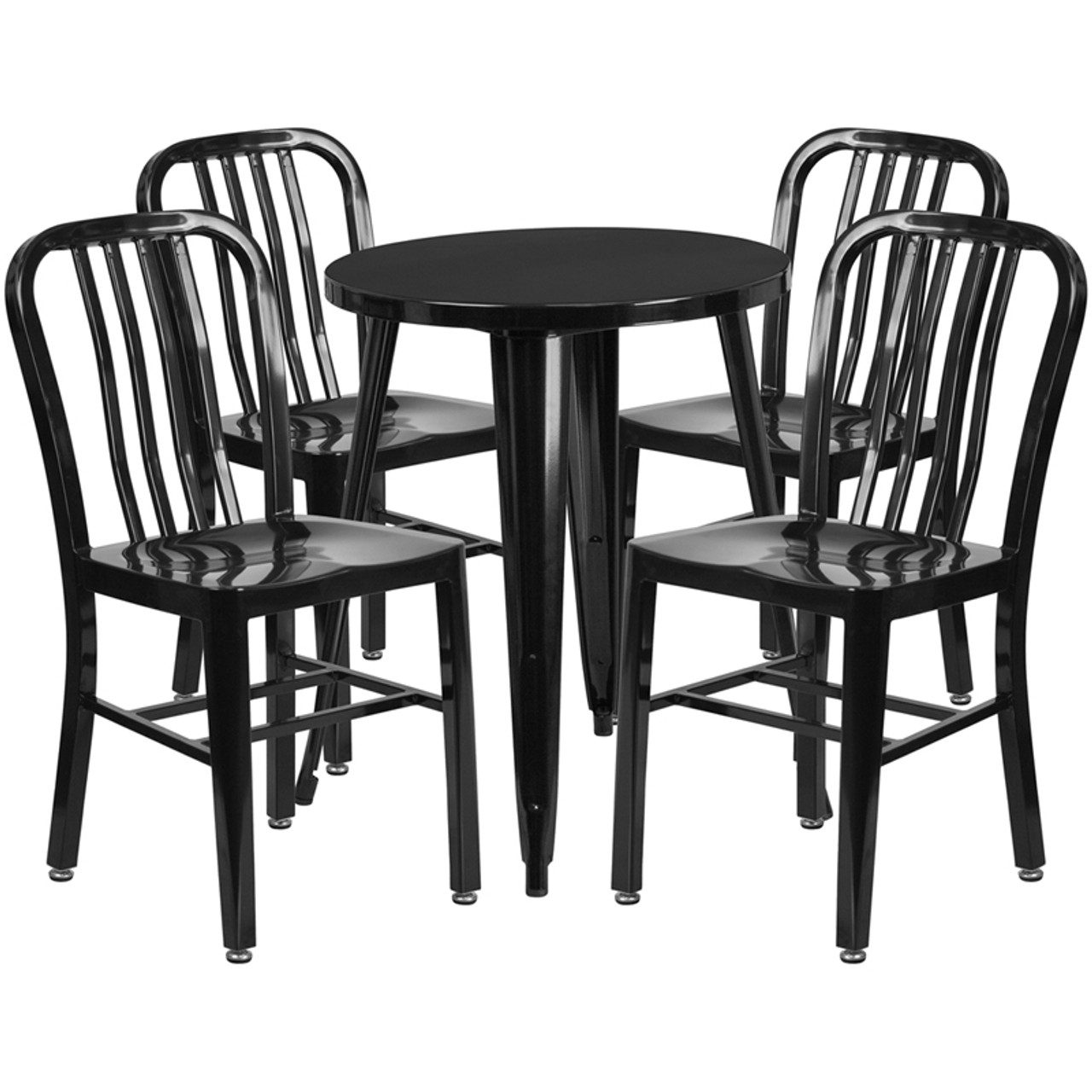 24 Round Black Metal Indoor Outdoor Table Set With 4 Vertical Slat Back Chairs