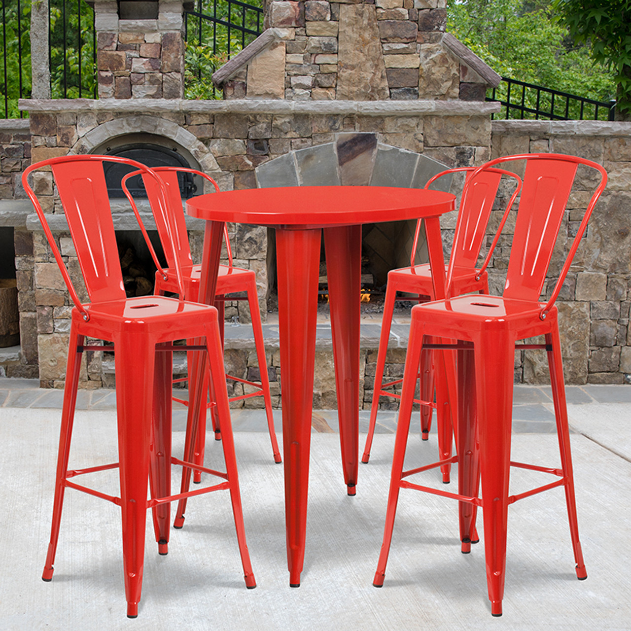 Remarkable 30 Round Red Metal Indoor Outdoor Bar Table Set With 4 Cafe Stools Uwap Interior Chair Design Uwaporg