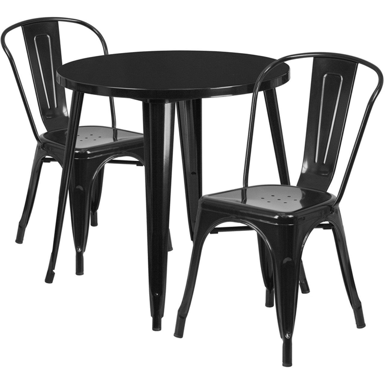 30 Round Black Metal Indoor Outdoor Table Set With 2 Cafe Chairs