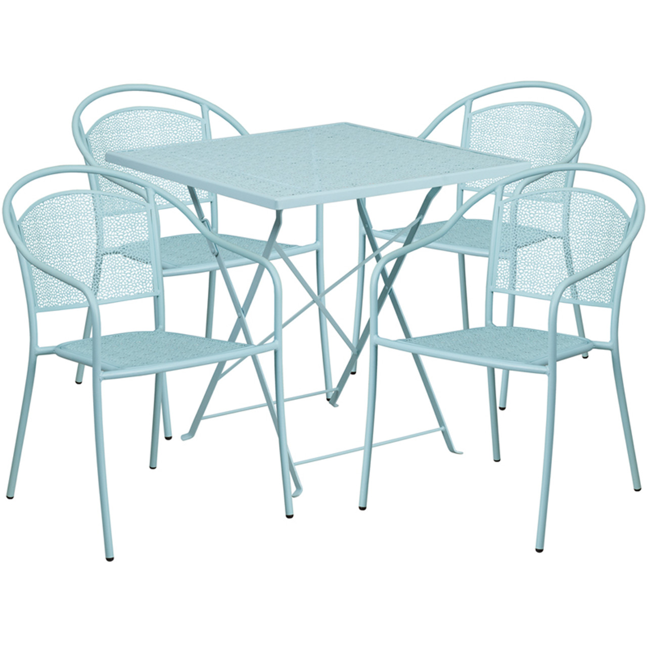 28 Square Sky Blue Indoor Outdoor Steel Folding Patio Table Set