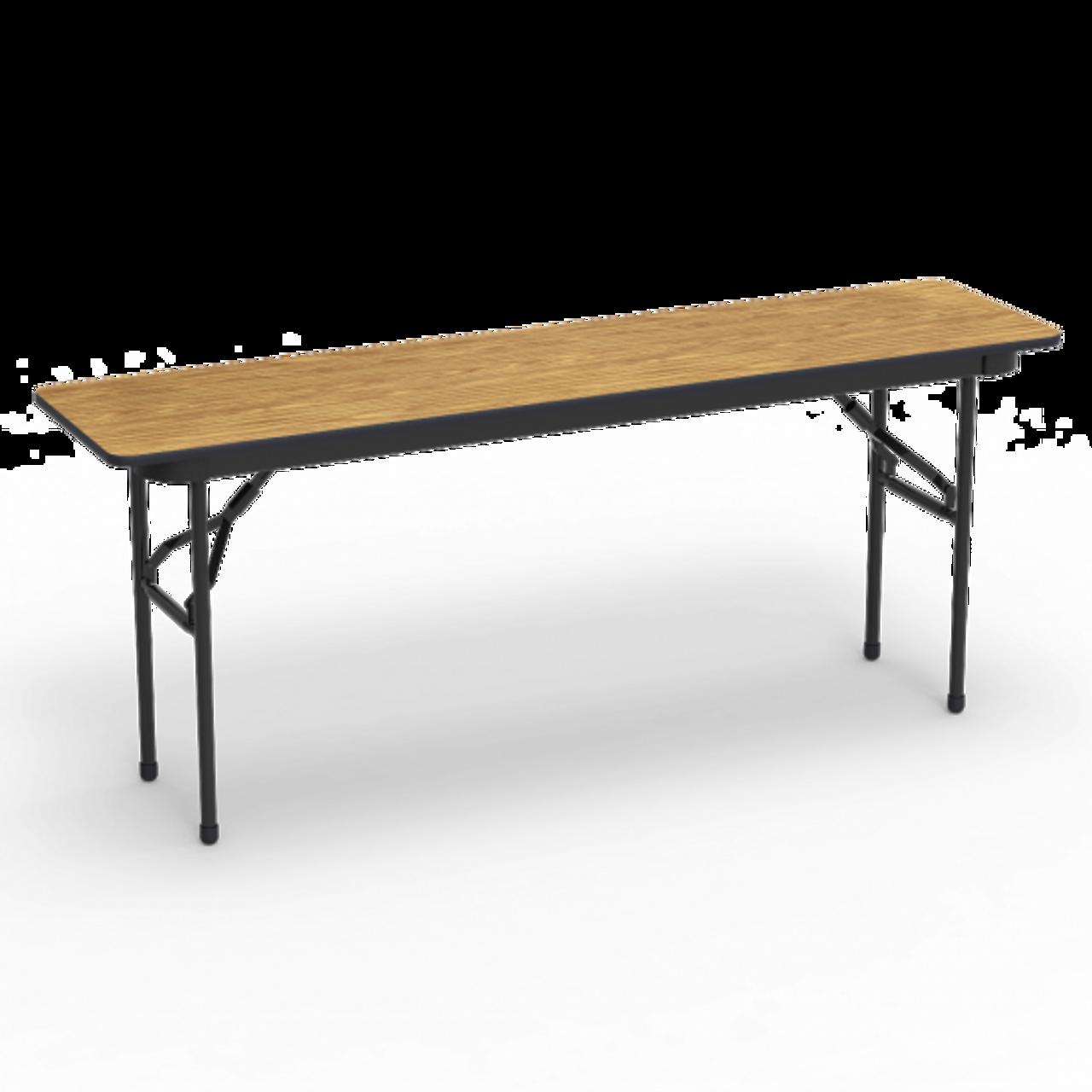 18 X 72 Folding Table.6000 Series 18 X 72 Rectangle Folding Table Medium Oak Top Char Black Edge Char Black Frame