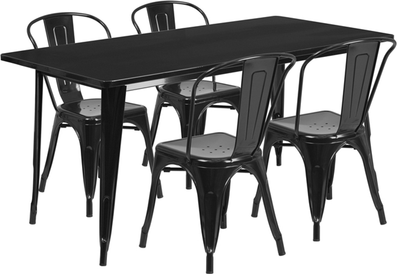 31 5 X 63 Rectangular Black Metal Indoor Outdoor Table Set With 4 Stack Chairs