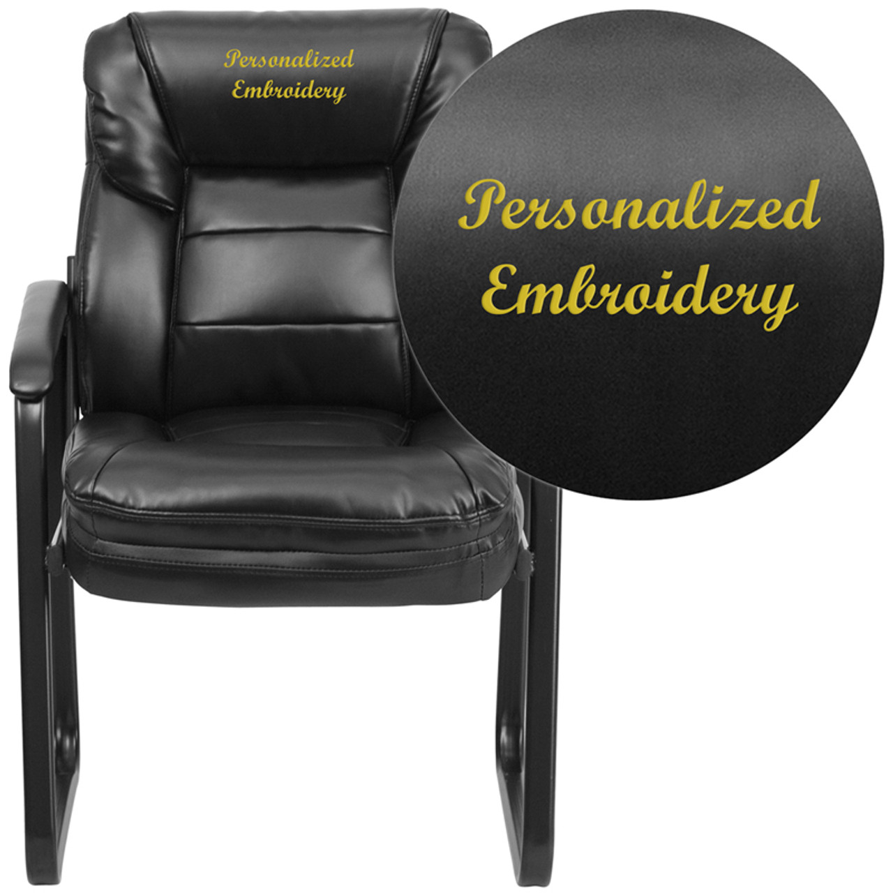 Surprising Embroidered Black Leather Executive Side Reception Chair With Lumbar Support And Sled Base Pdpeps Interior Chair Design Pdpepsorg