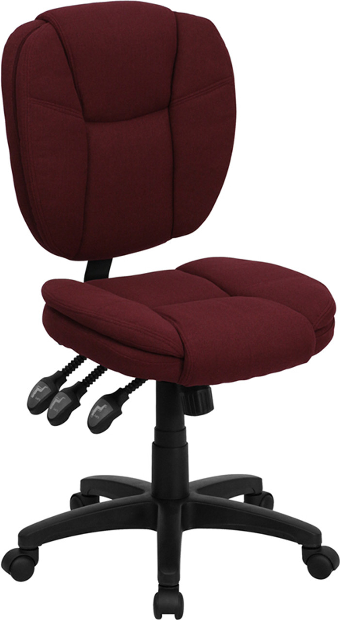 Admirable Mid Back Burgundy Fabric Multifunction Swivel Ergonomic Task Office Chair With Pillow Top Cushioning Machost Co Dining Chair Design Ideas Machostcouk
