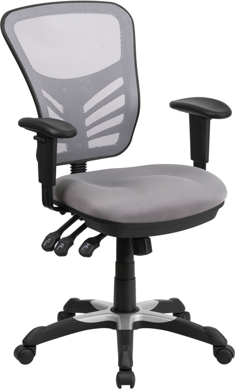 Mid Back Gray Mesh Multifunction Executive Swivel Ergonomic Office Chair With Adjustable Arms