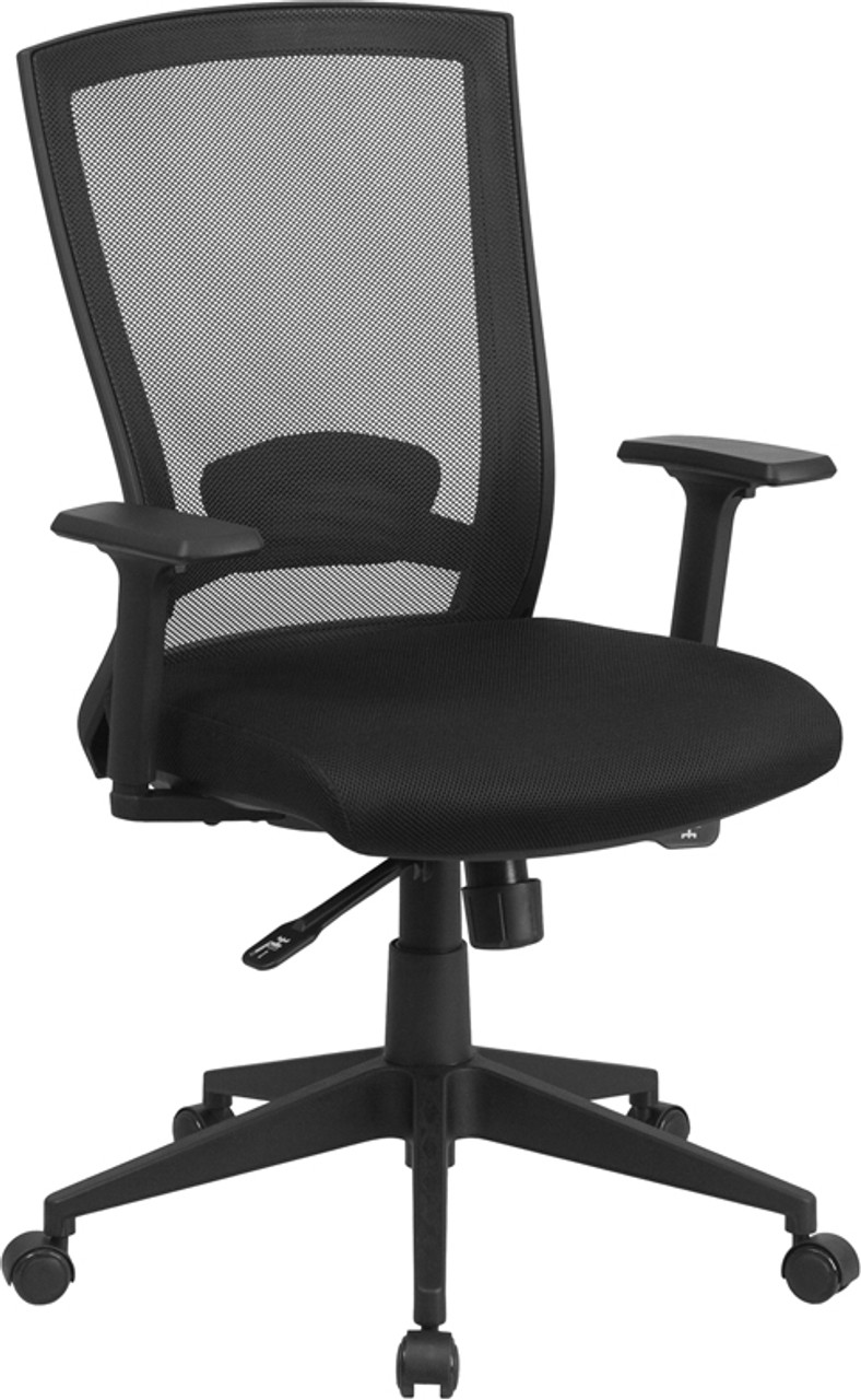 Mid Back Black Mesh Executive Swivel Ergonomic Office Chair With Back Angle Adjustment And Adjustable Arms