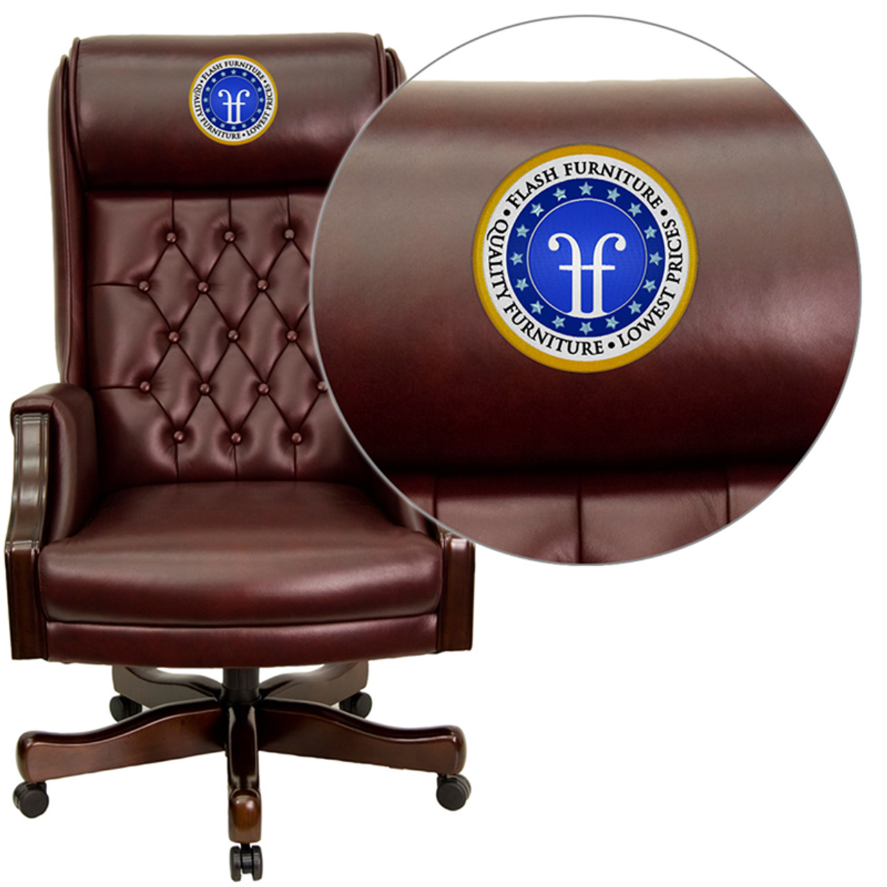 Super Embroidered High Back Traditional Tufted Burgundy Leather Executive Ergonomic Office Chair With Headrest And Arms Machost Co Dining Chair Design Ideas Machostcouk