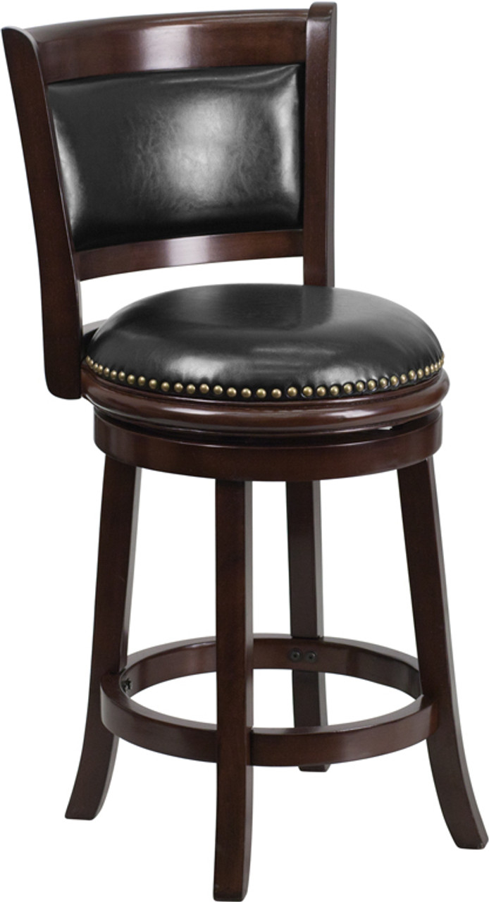 Miraculous 24 High Cappuccino Wood Counter Height Stool With Panel Back And Black Leather Swivel Seat Gamerscity Chair Design For Home Gamerscityorg