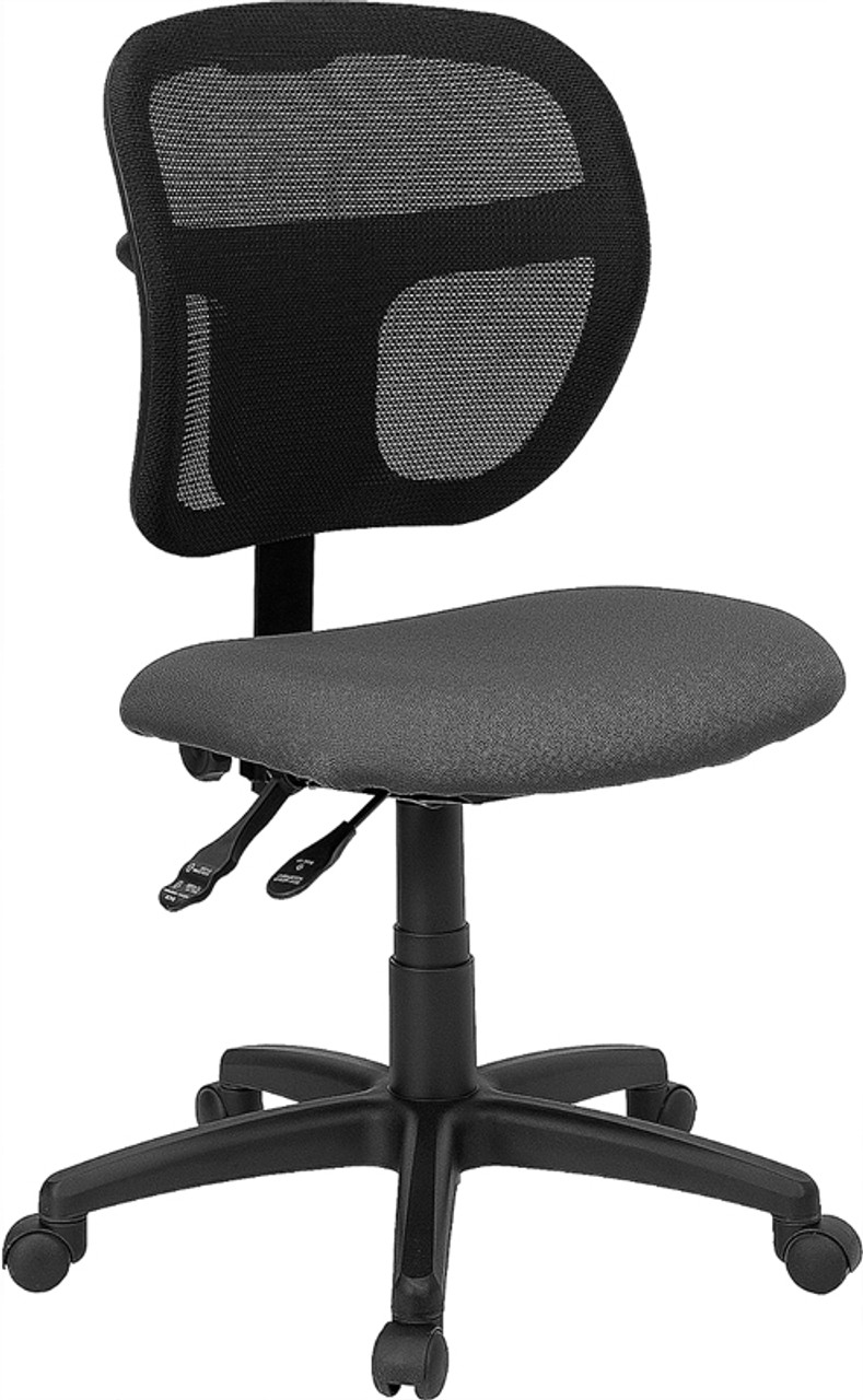 Mid Back Gray Mesh Swivel Task Office Chair With Back Height Adjustment