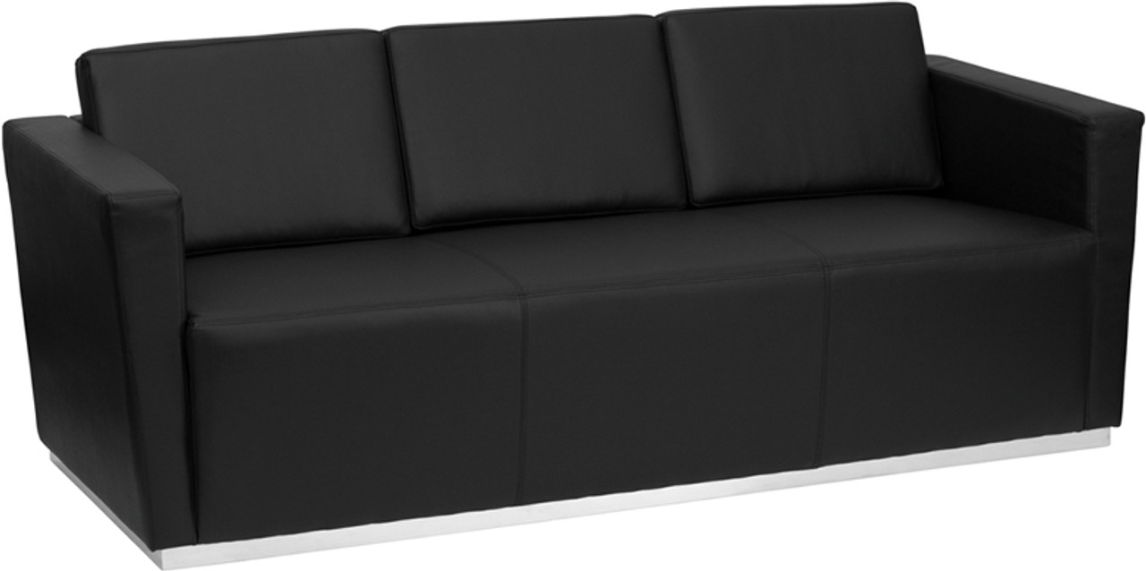 TYCOON Trinity Series Contemporary Black Leather Sofa with Stainless Steel  Base