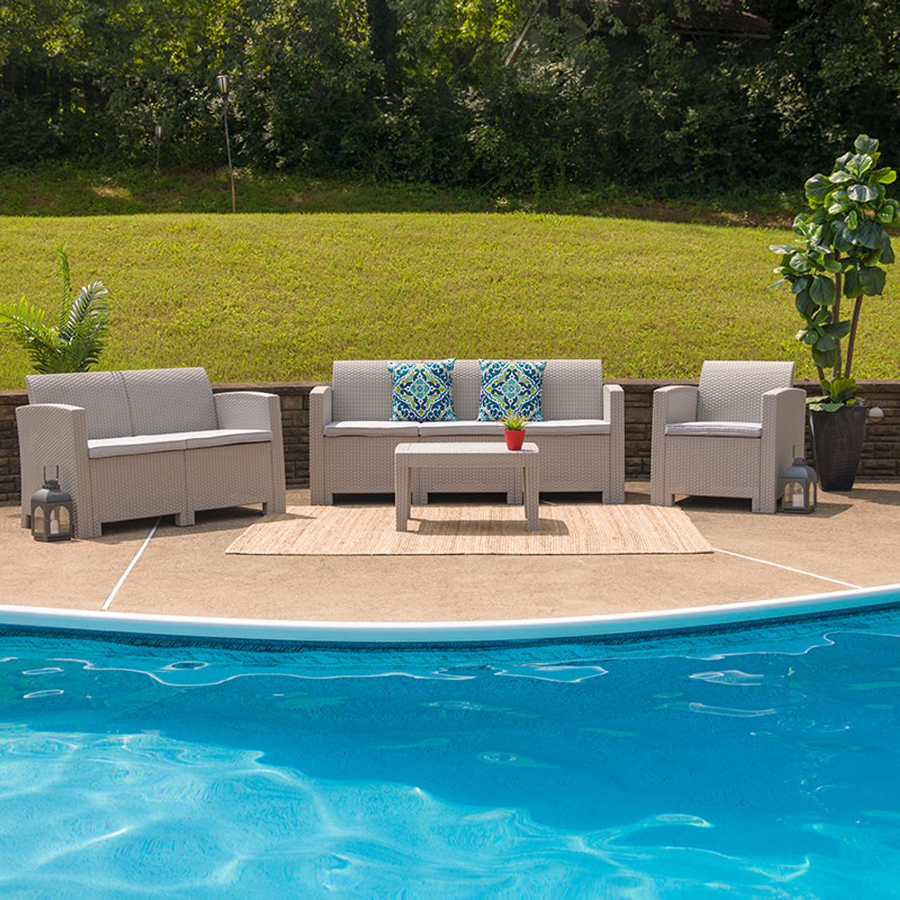 Plastic Rattan Patio Lounge Furniture