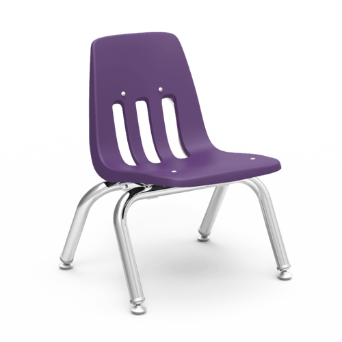 "9000 Series 10"" Classroom Chair, Purple Iris Bucket, Chrome Frame, Preschool - Set of 4 Chairs"
