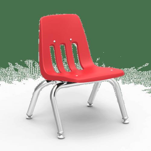 "9000 Series 10"" Classroom Chair, Red Bucket, Chrome Frame, Preschool - Set of 4 Chairs"