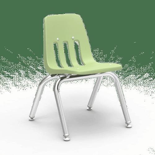 "9000 Series 12"" Classroom Chair, Green Apple Bucket, Chrome Frame, Preschool - 1st Grade - Set of 4 Chairs"