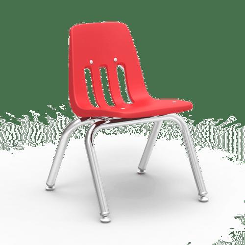 "9000 Series 12"" Classroom Chair, Red Bucket, Chrome Frame, Preschool - 1st Grade - Set of 4 Chairs"