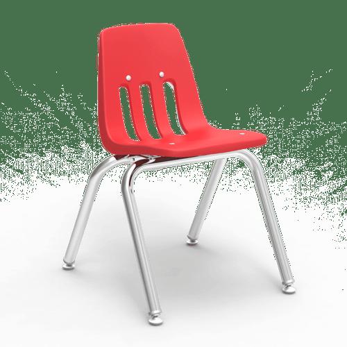 "9000 Series 14"" Classroom Chair, Red Bucket, Chrome Frame, Kindergarten - 2nd Grade - Set of 4 Chairs"