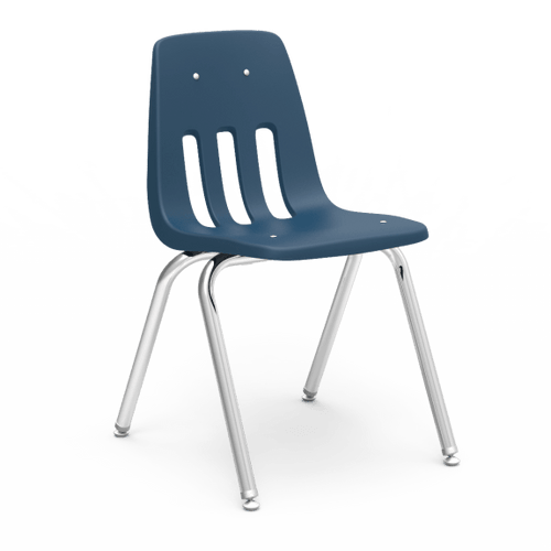 """9000 Series 16"""" Classroom Chair, Navy Bucket, Chrome Frame, 3rd - 4th Grade - Set of 4 Chairs"""