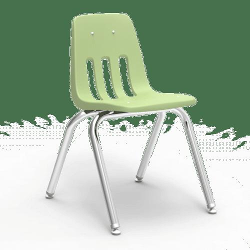 "9000 Series 16"" Classroom Chair, Green Apple Bucket, Chrome Frame, 3rd - 4th Grade - Set of 4 Chairs"