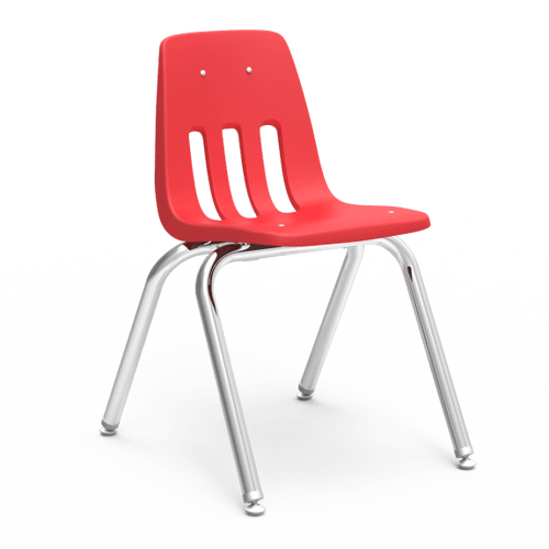 """9000 Series 16"""" Classroom Chair, Red Bucket, Chrome Frame, 3rd - 4th Grade - Set of 4 Chairs"""