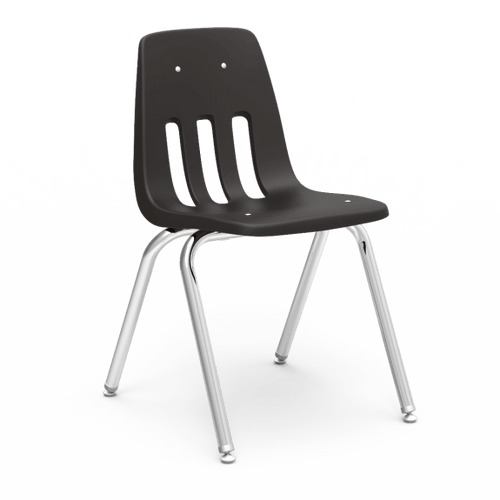 """9000 Series 18"""" Classroom Chair, Black Bucket, Chrome Frame, 5th Grade - Adult - Set of 4 Chairs"""