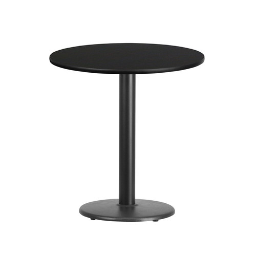 24'' Round Black Laminate Table Top with 18'' Round Table Height Base