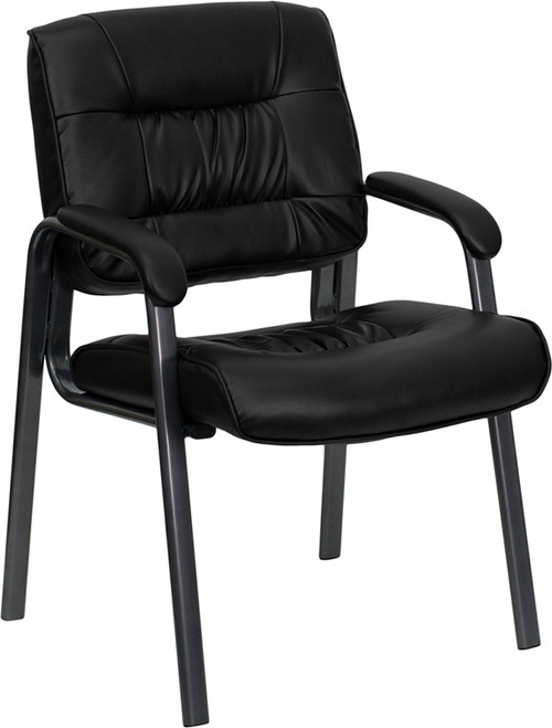 Black Leather Executive Side Reception Chair with Titanium Metal Frame
