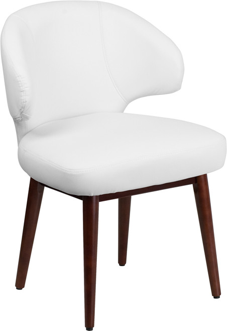 Comfort Back Series White Leather Side Reception Chair with Walnut Legs