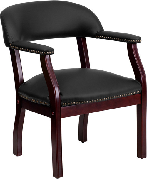 Black Leather Conference Chair with Accent Nail Trim