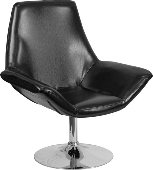 TYCOON Sabrina Series Black Leather Side Reception Chair